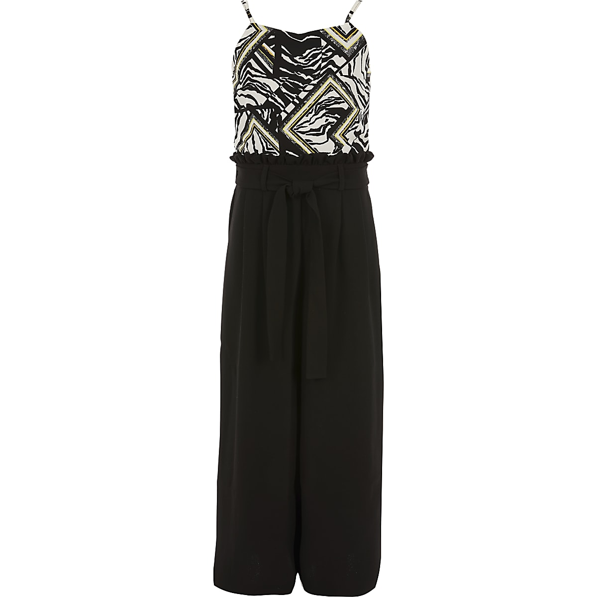 Zwarte jumpsuit met zebraprint en riem voor meisjes