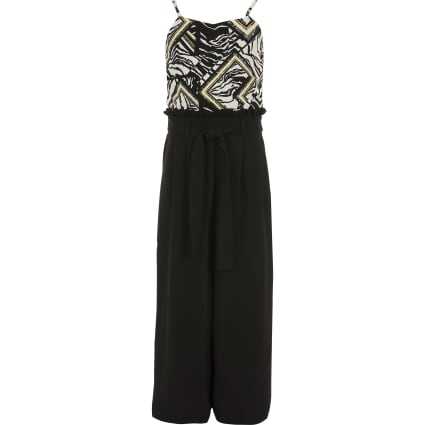 Girls black zebra print belted jumpsuit