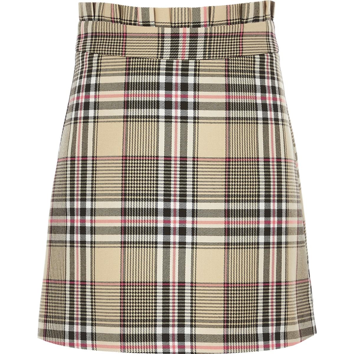 Girls beige check A line skirt
