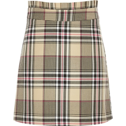 Girls beige check A line skirt