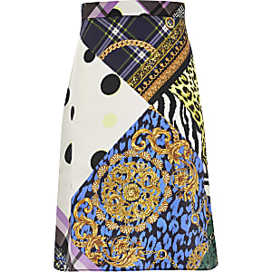 Girls purple printed midi skirt
