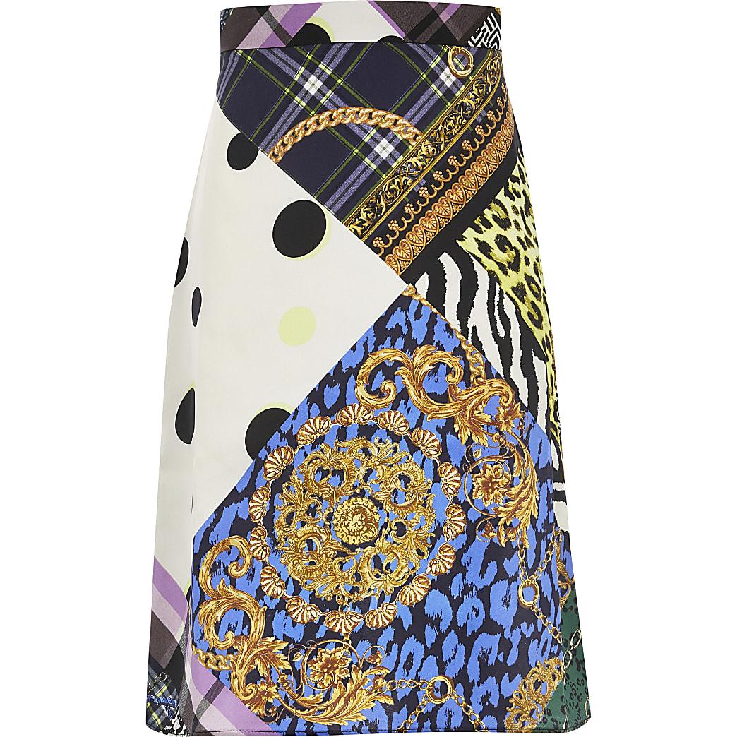 Girls purple printed midi skirt