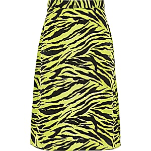 Girls yellow zebra print midi skirt