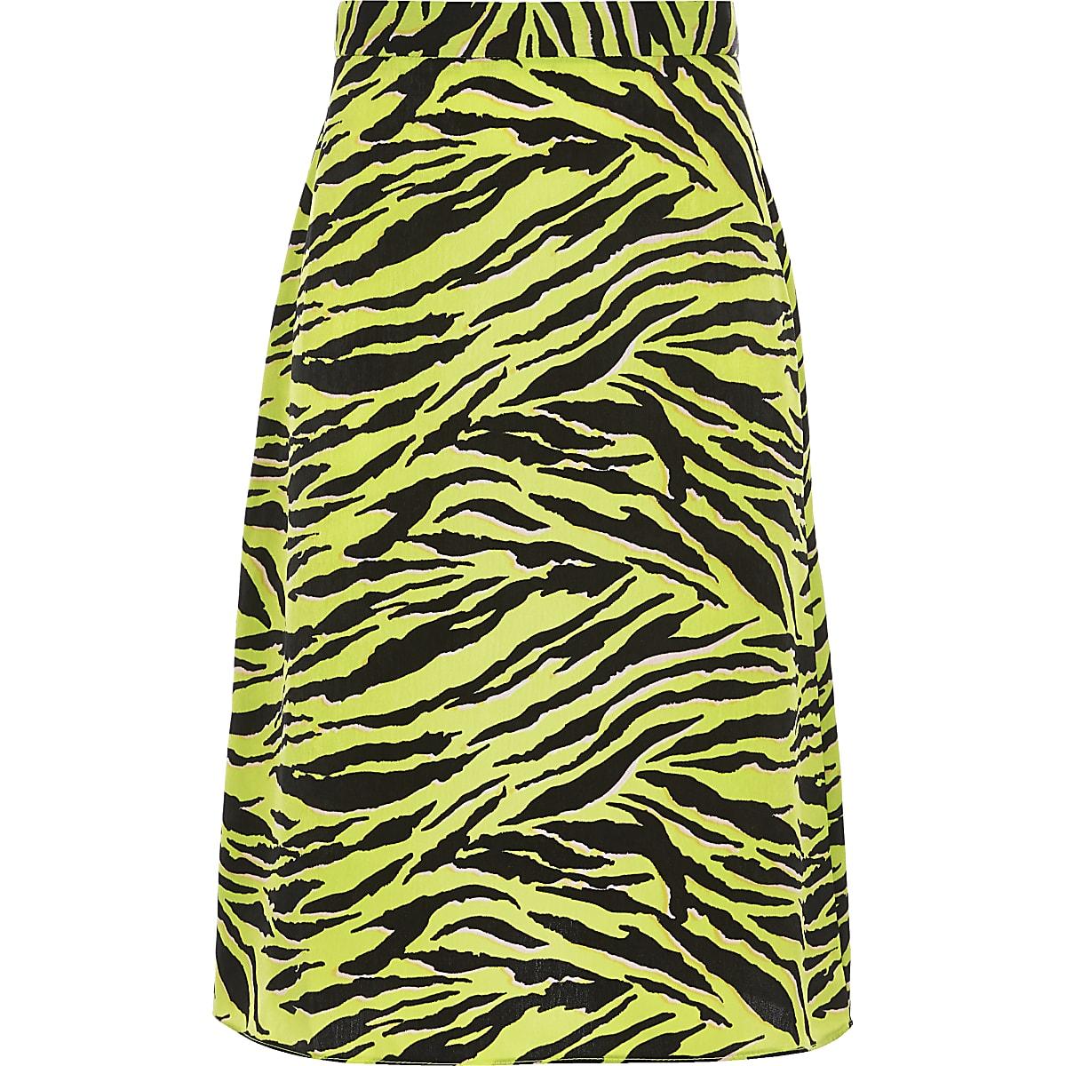Gele midirok met zebraprint voor meisjes