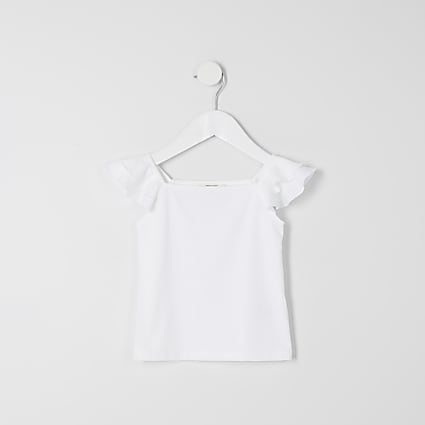 Mini girls white frill sleeve cami T-shirt