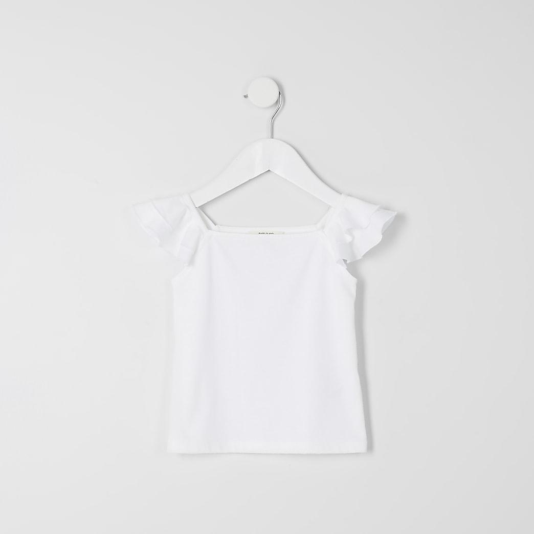 Mini - Wit cami T-shirt met ruches mouwen voor meisjes