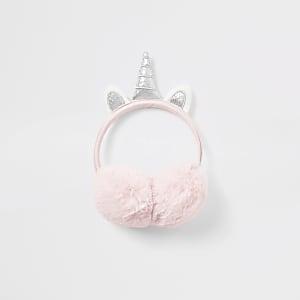 Cache-oreilles Licorne roses avec fausse fourrure et oreilles pour fille