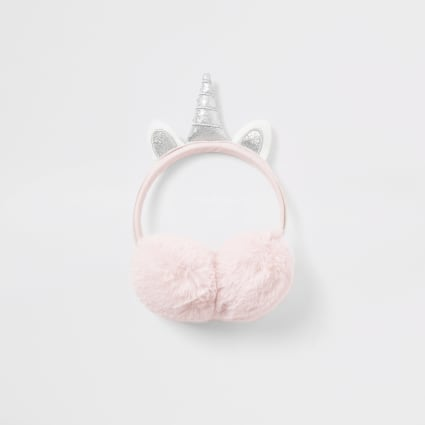 Girls pink faux fur unicorn ear muffs