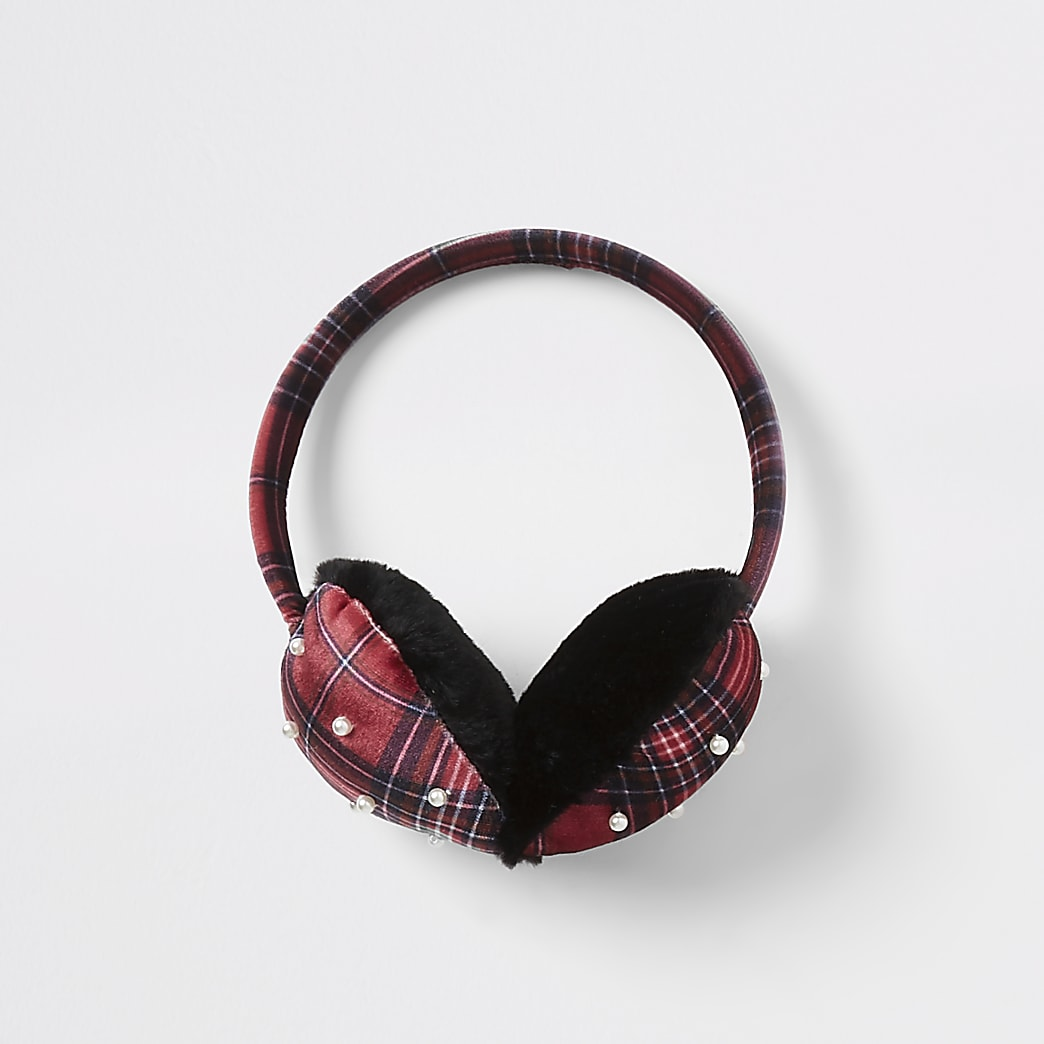 Girls red tartan pearl heart ear muffs