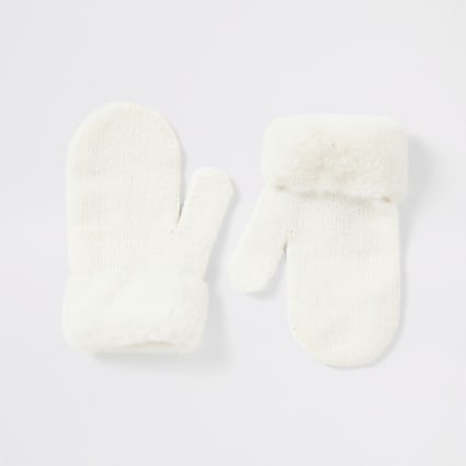 Mini girls white faux fur mitten gloves