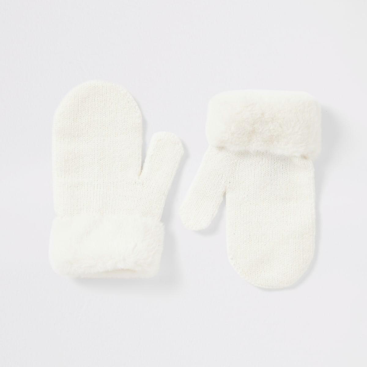 Mini girls white faux fur mitten gloves