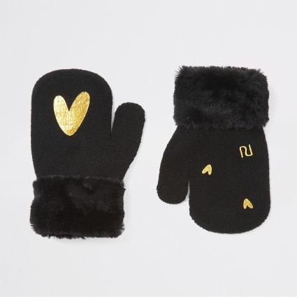 Mini girls black heart foil print mittens