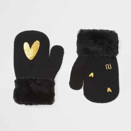 Mini girls black heart foil print mittens