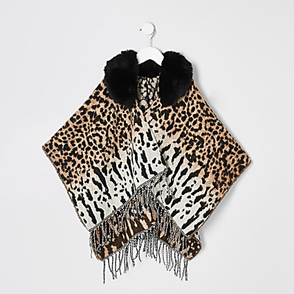 Mini girls cream animal print cape