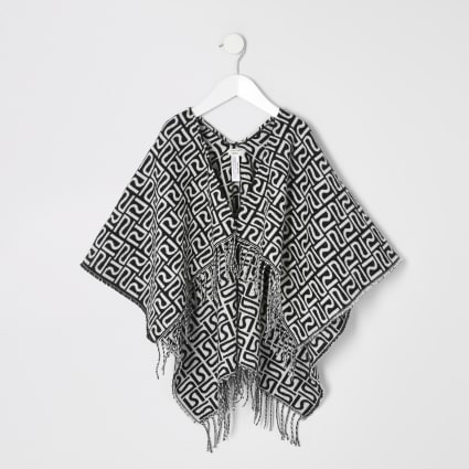 Mini girls black RI monogram printed cape