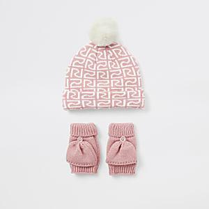 Pinkfarbenes Set mit RI-Beanie-Mütze und Fäustlingen für kleine Mädchen