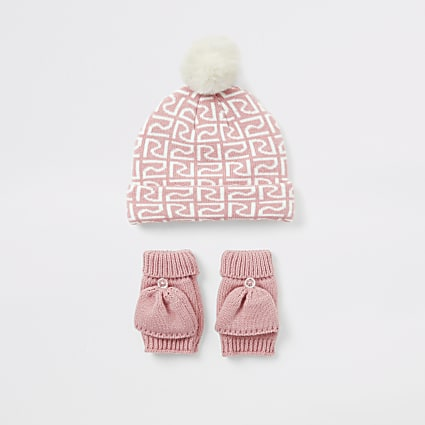 Mini girls pink RI beanie hat and mitten set