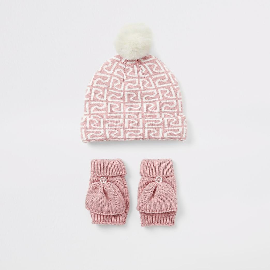 Mini girls pink RI beanie hat and mitten set