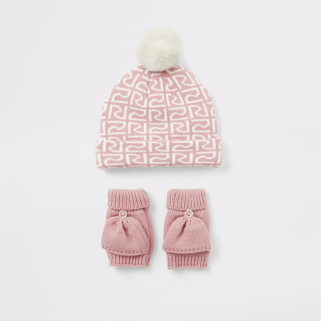 Mini - Roze RI beanie muts en wanten set voor meisjes