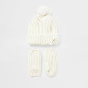 Ensemble avec bonnet et mouflesen tricot avecnœudMini fille