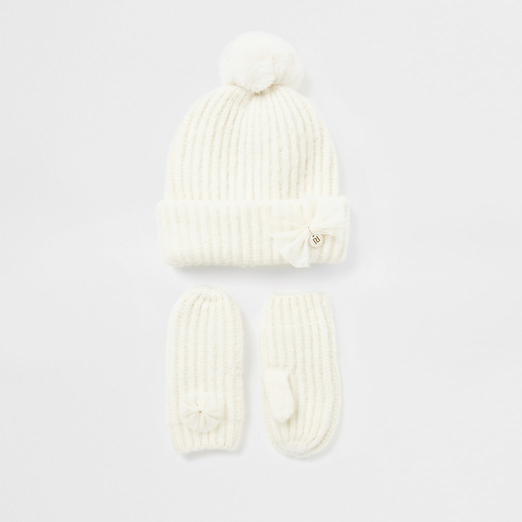 Mini girls bow knitted hat and mitten set
