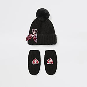 Schwarzes Mützen- und Handschuhset mit Herz für kleine Mädchen