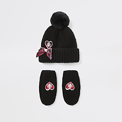 Mini girls black heart hat and mitten set