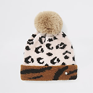 Mini girls beige animal print beanie hat