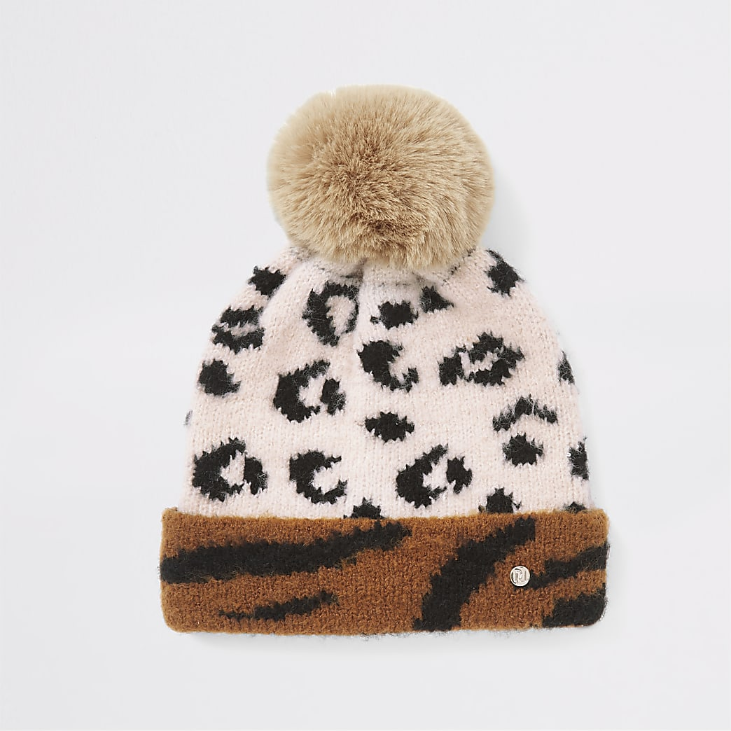 Mini girls beige animal print beanie hat