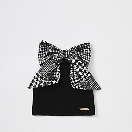 Mini girls black dogtooth check bow hat