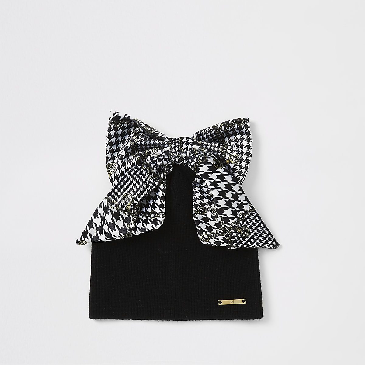 Mini girls black dogtooth check bow hat