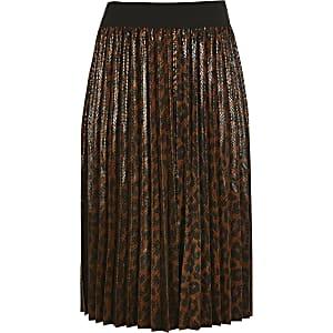 Braunes Plissee-Midikleid mit Leoparden-Print für Mädchen