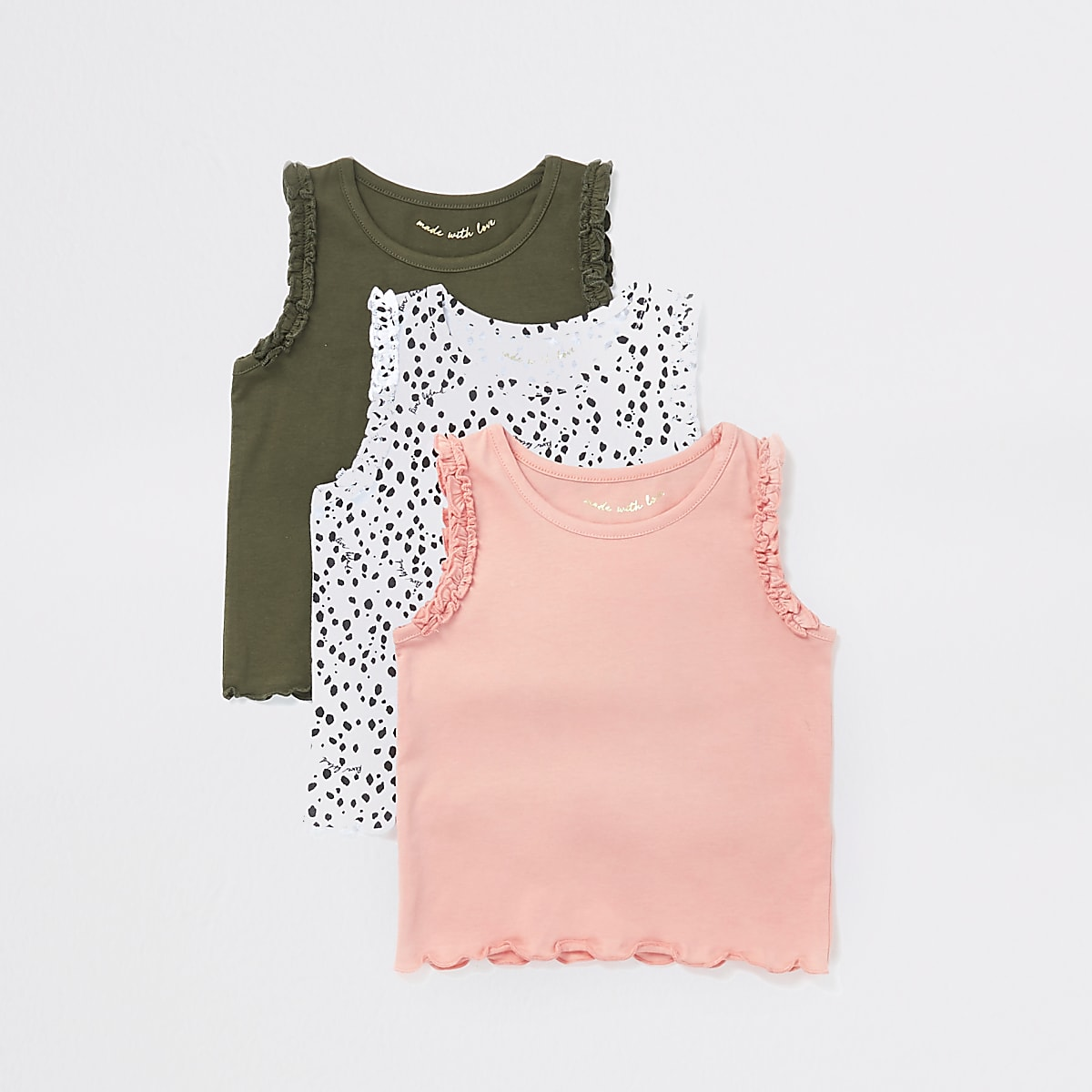 Mini girls multicoloured frill vests 3 pack