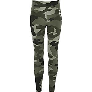 Girls khaki camo fold over leggings