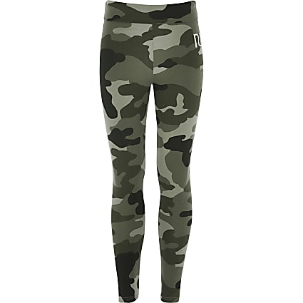 Girls khaki camo RI fold over leggings