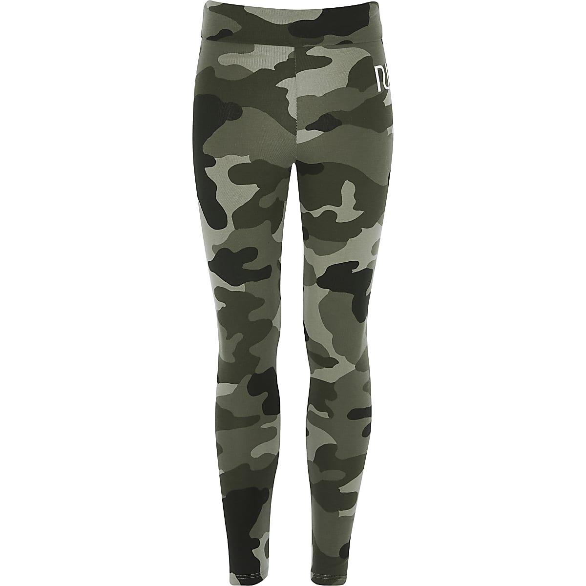Kaki camouflage RI legging voor meisjes