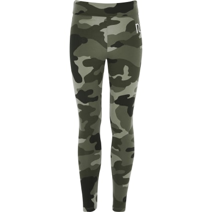 Girls khaki camo fold over leggings