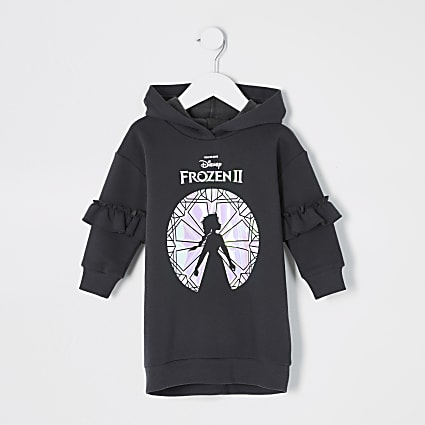 Mini girls black Frozen 2 sweatshirt dress