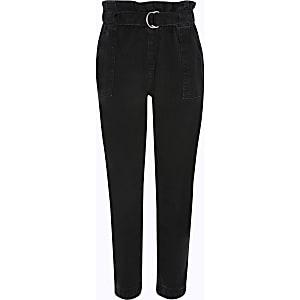 Zwarte jeans met geplooide taille voor meisjes