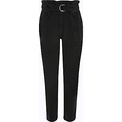 Girls black paperbag waist jeans