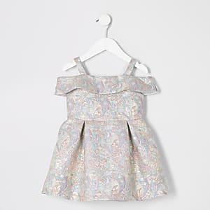 Goldfarbenes Jacquard-Kleid mit Blumenmuster für kleine Mädchen
