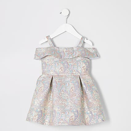 Mini girls gold floral jacquard dress