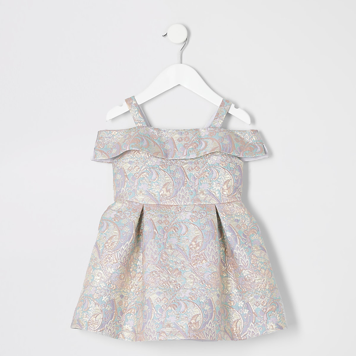 Mini - Goudkleurige jacquard jurk met bloemenprint voor meisjes