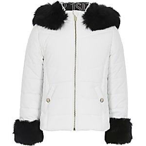 Gefütterte Jacke in Weiß mit Kunstfellkapuze für Mädchen