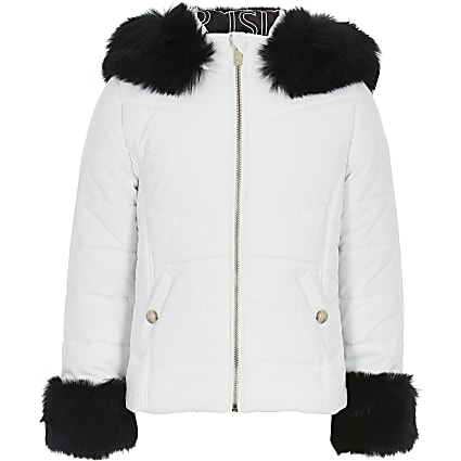 Girls white padded faux fur hood jacket