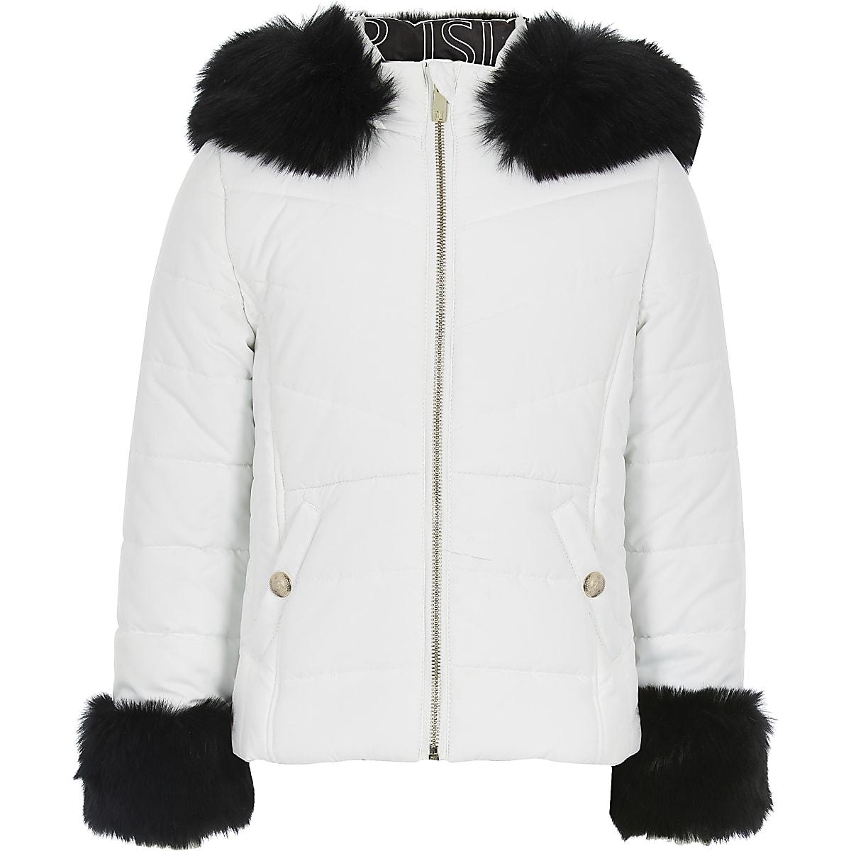 Wit gewatteerd jack met capuchon van imitatiebont voor meisjes