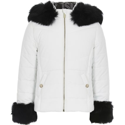Girls white padded faux fur hood jacket