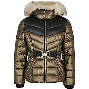 Bronskleurige gewatteerde jas met capuchon van imitatiebont voor meisjes
