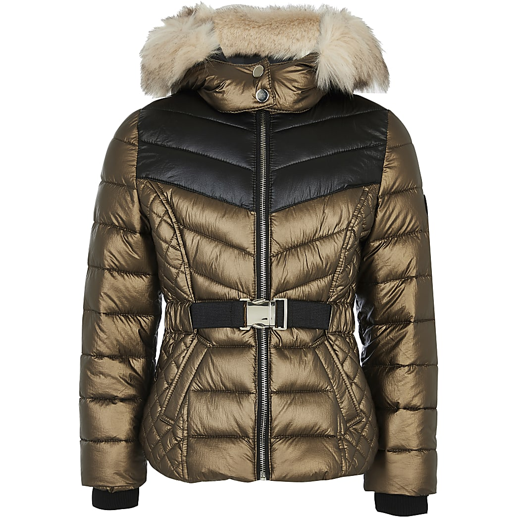 Girls bronze faux fur hood padded coat