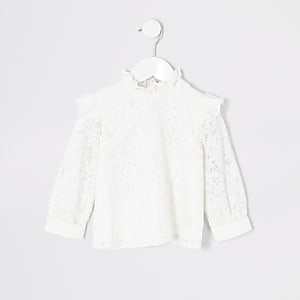 Mini girls cream lace shlouse top